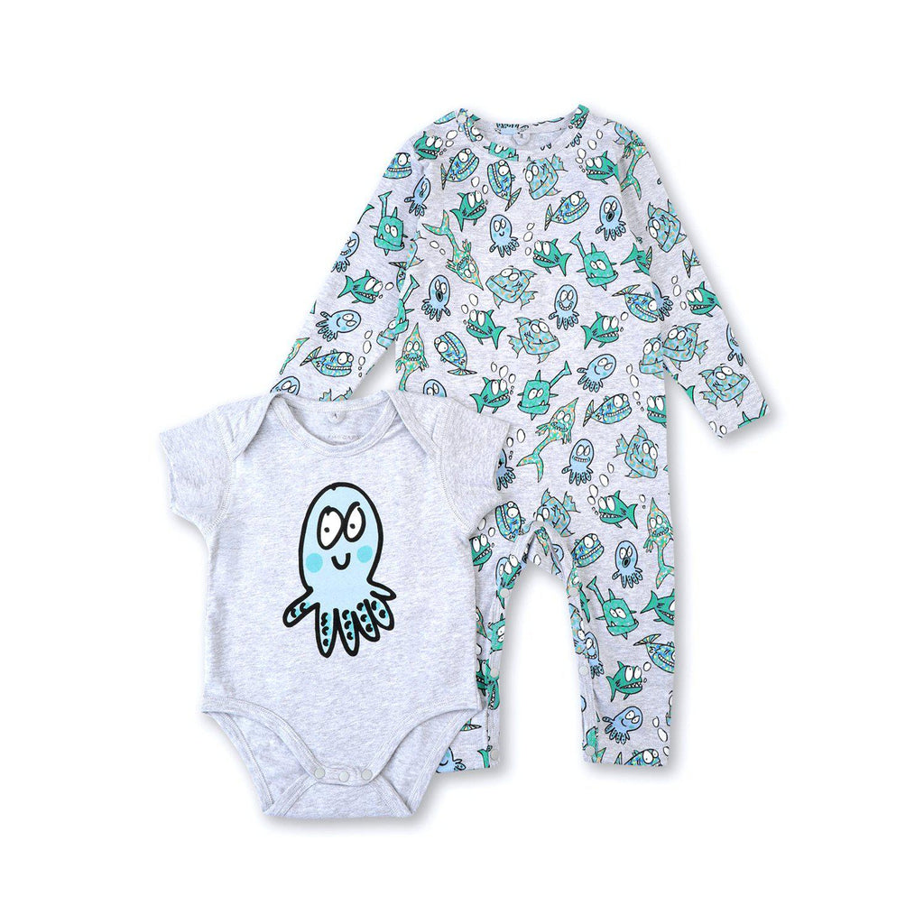 Stella McCartney Baby Boy Happy Fish Cotton Bodies Set
