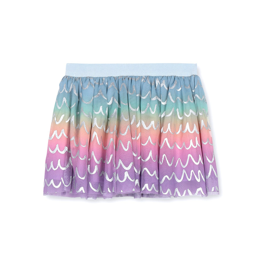 Stella McCartney Kids Girl Rainbow Tulle Skirt With Shell Foil