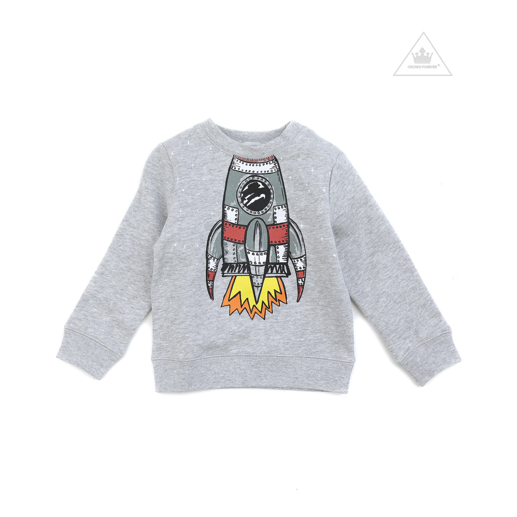 Stella McCartney Kid Boy Big Space Shuttle Sweatshirt Grey