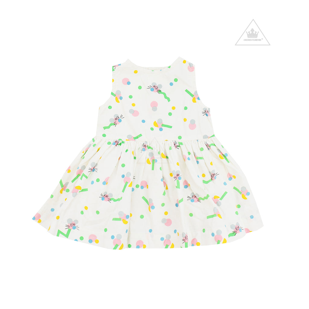 Stella McCartney Kids Baby Girl Sleeveless Mice Wiggle Cord Dress Ivory