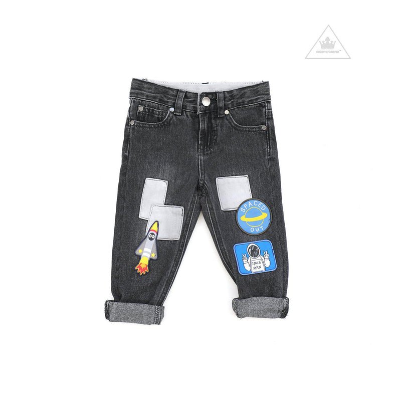 Stella McCartney Kids Boy Denim Pants With Space Patches Ed Grey