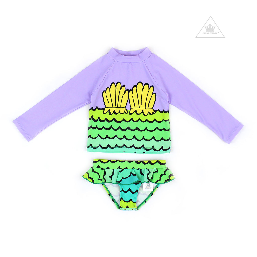 Stella McCartney Kid Girl Two Piece Mermaid Shells Rashguard Set Purple