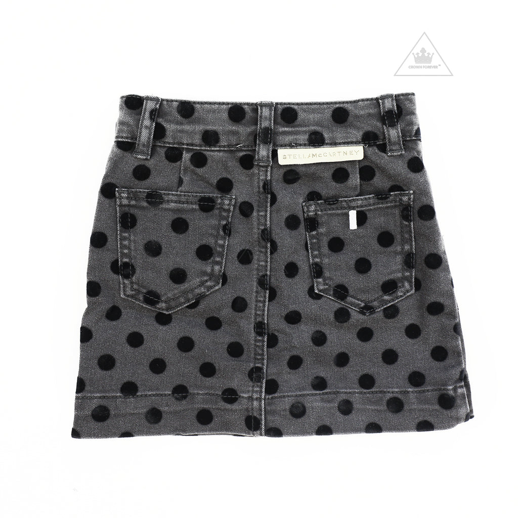 Stella McCartney Kids Girl Flock Dot Denim Skirt