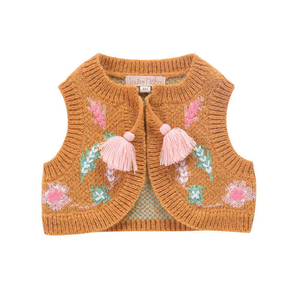 Louise Misha Sleeveless Cardigan Adem Beeswax