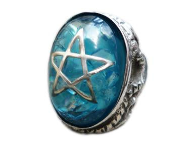 Alex Streeter Blue Cracked Stone Ring