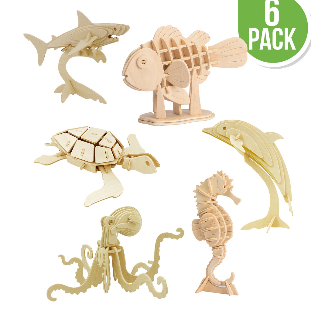 Hands Craft DIY 3D Wooden Puzzle 6 ct, Sea Animals-JP2B5