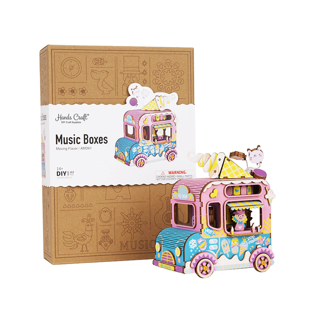 Hands Craft DIY 3D Wooden Puzzle Music Box: Moving Flavor-AMD61