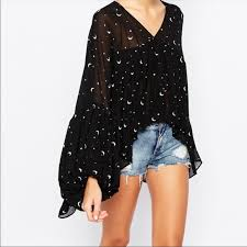Wildfox Couture Moon and Stars Drape Princess Top