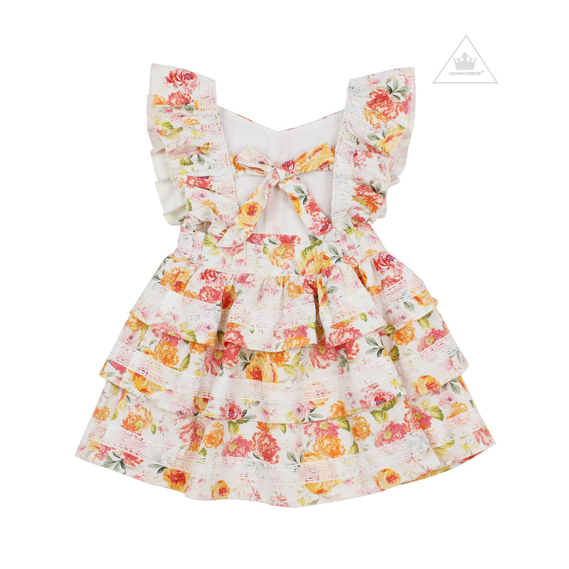 Lil Lemons Peony Toddler Dress Coral