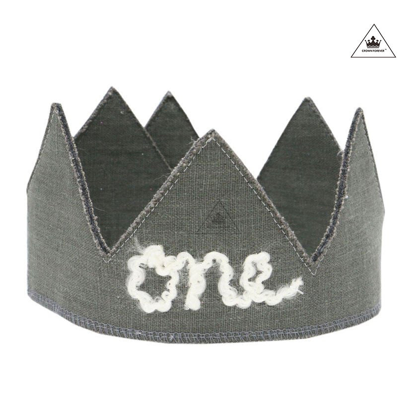 Oh Baby! Birthday Linen Crown - Elephant Gray