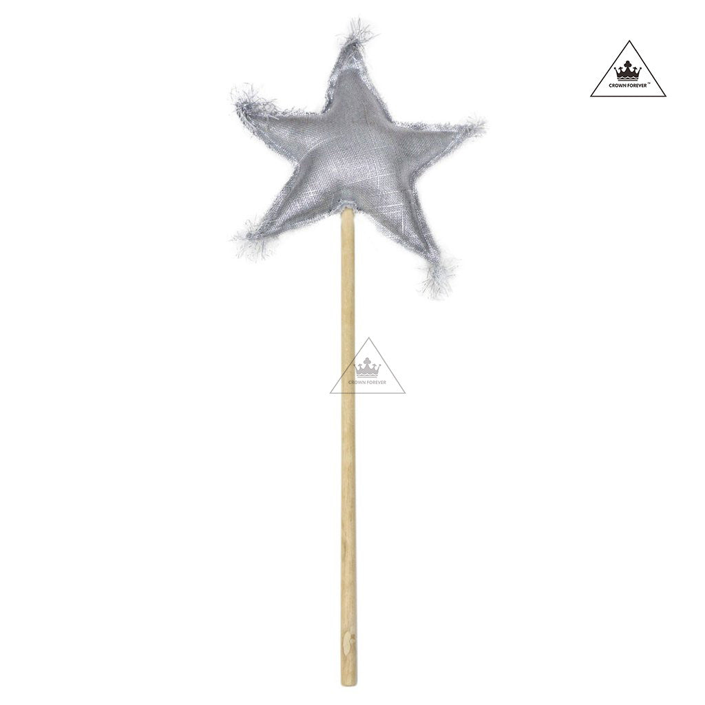 Oh Baby! Metallic Linen Star Wand - Silver