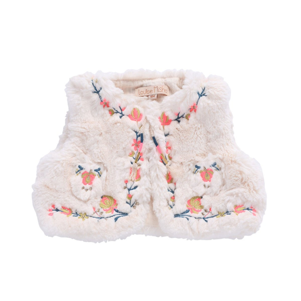 Louise Misha Sleeveless Cardigan Timour Cream