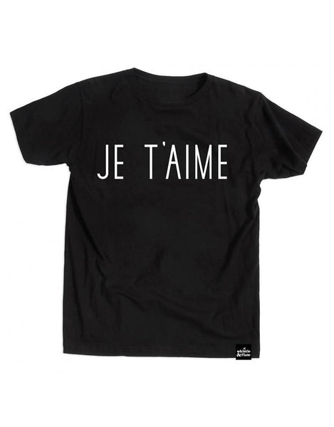 Whistle and Flute Je T'aime Black T-Shirt