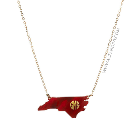 Acrylic State Monogram Necklace