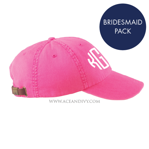 Monogrammed Baseball Hats - Bridesmaid Pack