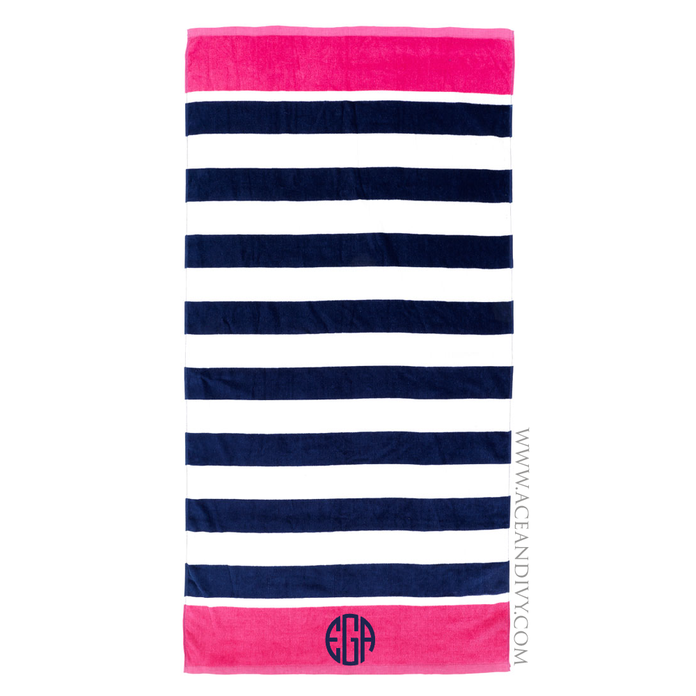 Monogrammed Beach Towel - Navy Stripe