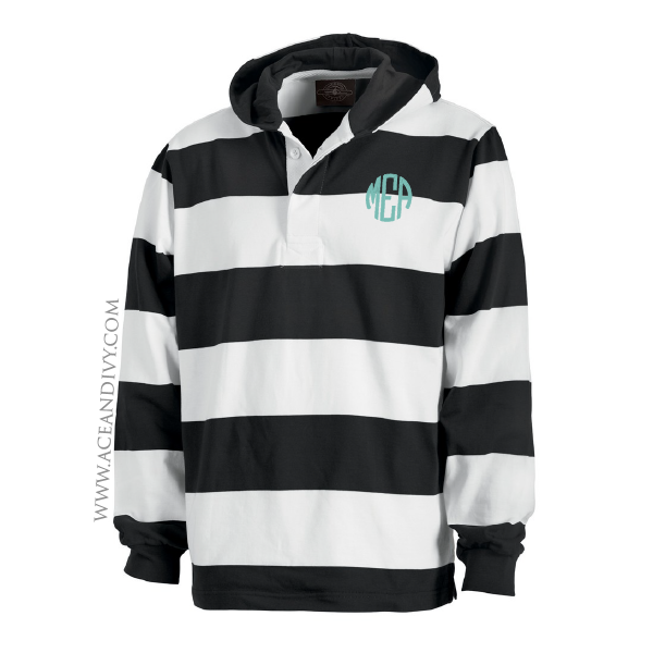 Monogrammed Hooded Rugby Pullover