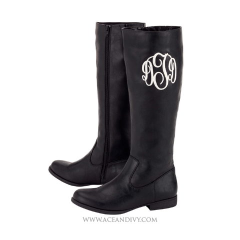 Monogrammed Riding Boots - Black
