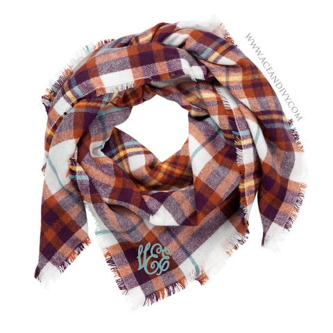 Monogrammed Blanket Scarf - Purple & Rust