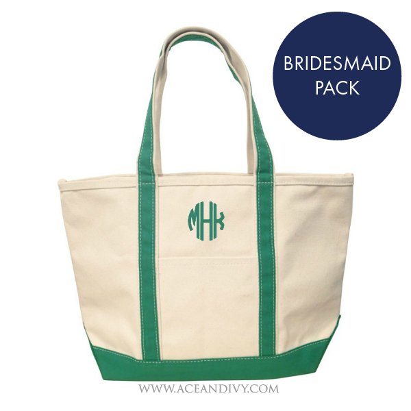 Monogrammed Boat Totes - Medium - Bridesmaid Pack