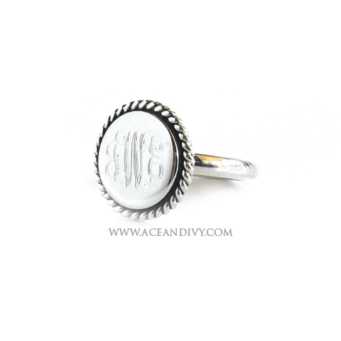 Monogrammed Sterling Silver Braided Round Ring