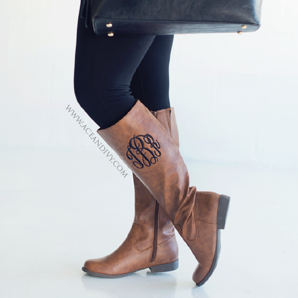Monogrammed Riding Boots - Brown
