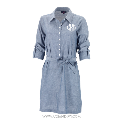 Monogrammed Chambray Dress