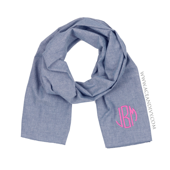 Monogrammed Chambray Scarf