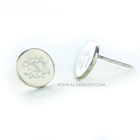 Monogrammed Sterling Silver Round Post Earrings