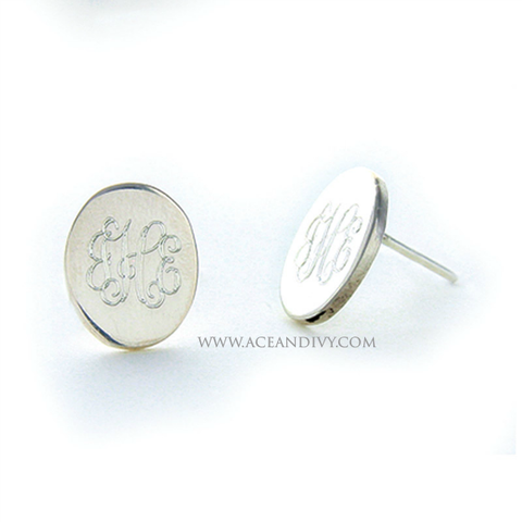 Monogrammed Sterling Silver Oval Post Earrings