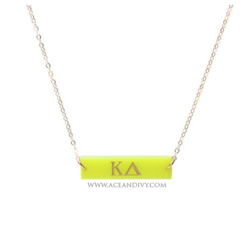 Greek Letter Bar Necklace