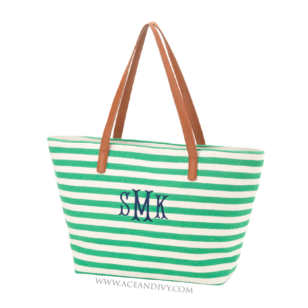 Monogrammed Striped Purse