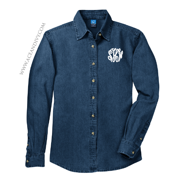 Monogrammed Denim Button Down Shirt