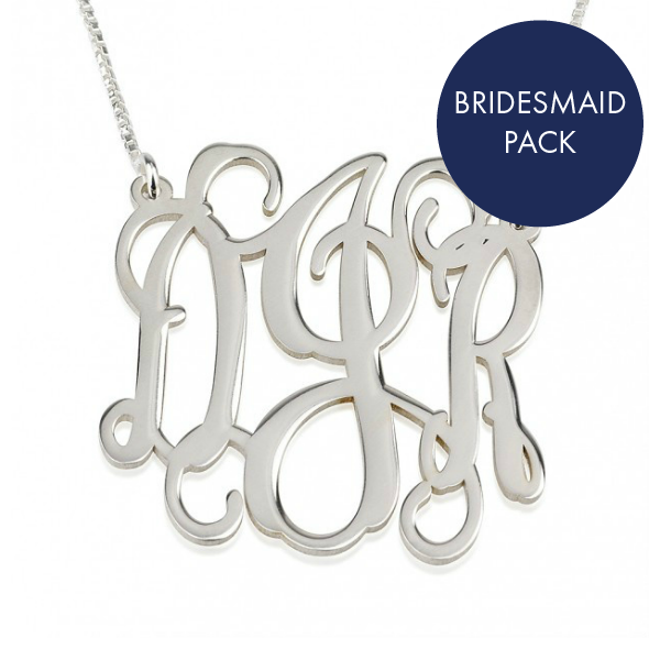 Sterling Silver Monogram Necklace - Bridesmaid Pack