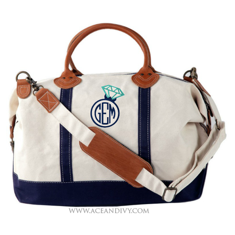 Engagement Ring Monogrammed Weekender Bag