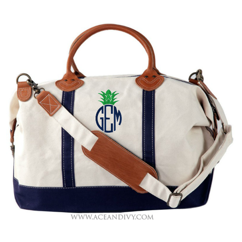 Pineapple Monogrammed Weekender Bag