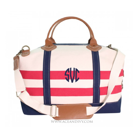 Monogrammed Nautical Weekender Bag