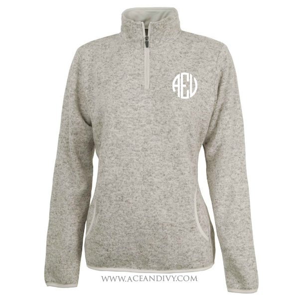 Monogrammed Heathered Fleece Pullover