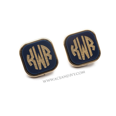 Vineyard Square Monogram Post Earrings