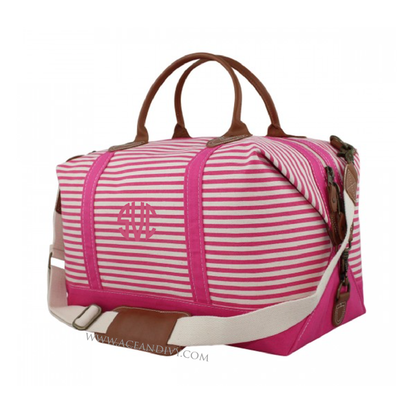 Monogrammed Striped Weekender Bag