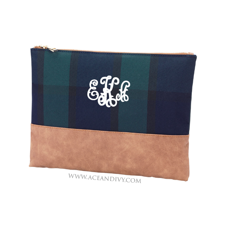Monogrammed Plaid Zip Pouch