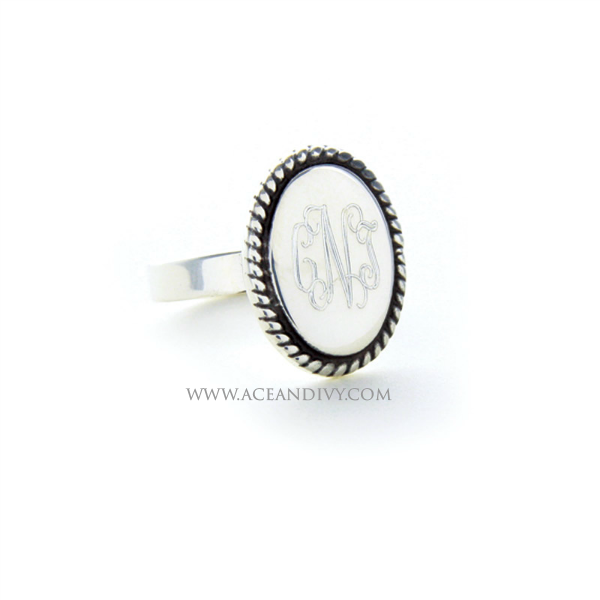 Monogrammed Sterling Silver Braided Oval Ring