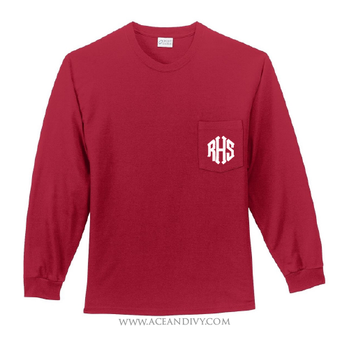 Monogrammed Long Sleeve Pocket Tee