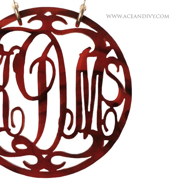 Rimmed Script Acrylic Monogram Necklace