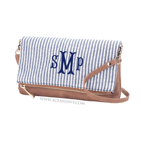Monogrammed Seersucker Crossbody Purse