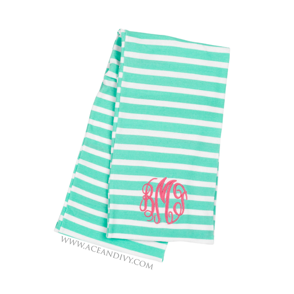 Monogrammed Striped Infinity Scarf - Mint