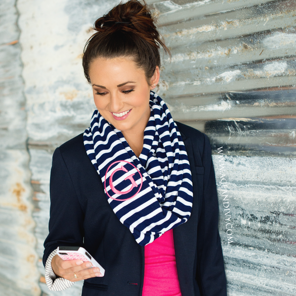 Monogrammed Striped Infinity Scarf - Navy