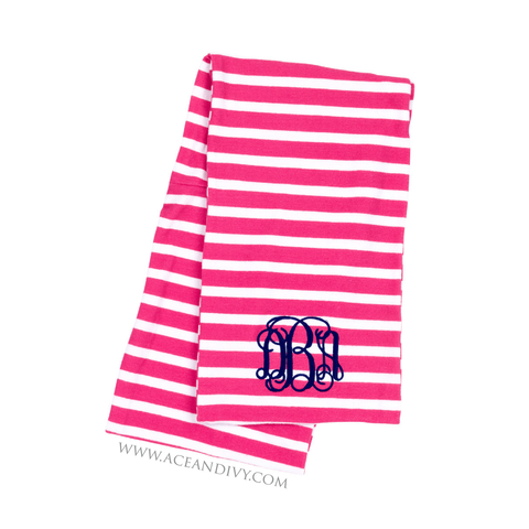 Monogrammed Striped Infinity Scarf - Hot Pink