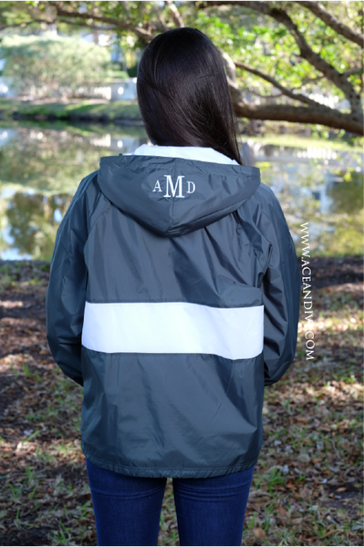 Monogrammed Striped Pullover Rain Jacket