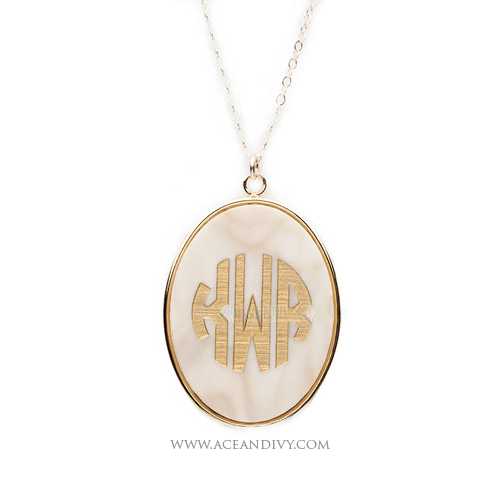 Vineyard Oval Monogram Necklace